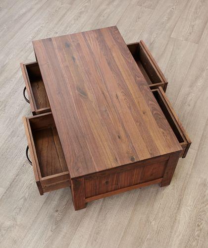 Mayan Walnut 4 Drawer Coffee Table Antique Bronze Effect